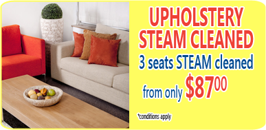 upholstery steam cleaning from $90 for 3 seats
